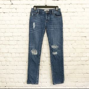 Free People Distressed Button Fly Denim Blue Jeans